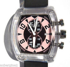 ELBA TEAM ET370 LOCMAN CHRONOGRAPH WATCH in  BLACK & PINK,  NWT, BOXED, $350