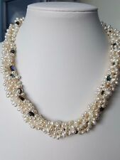 """Freshwater rice pearl Necklace 925 sterling silver clasp +2"""" extension"""