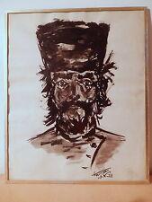 Tableau dessin encre buste homme au chapeau personnage russe Europe de l'est