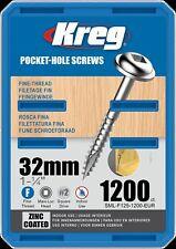 Kreg Pocket-Hole Screws – 32mm, #7 Fine, Washer-Head, 1200ct SML-F125-1200-EUR