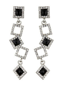 CLIP ON EARRINGS - silver with clear crystal squares and black stones - Braith