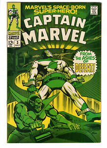 CAPTAIN MARVEL #3 (1968) - GRADE 8.5 - FROM THE ASHES OF DEFEAT - SILVER AGE!