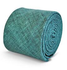 Frederick Thomas mens cotton linen tie in plain aqua turquoise FT3159
