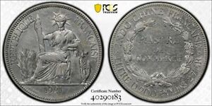 1921 French Indo-China SILVER Piastre PCGS AU DETAIL