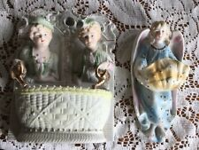 Bisque lot of 2 wall pockets sweet couple and angel