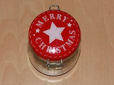 Deko Einmachglas Bonbonglas Merry Christmas roter Deckel Bügelverschluss