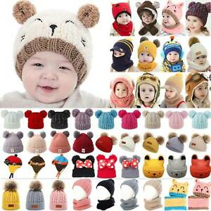 Toddler Kids Boys Girls Winter Warm Knitted Fur Pom Beanie Cute Hat Cap Scarf