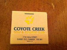 Coyote Creek Golf & Country Club Surrey B.C. Canada Vintage Matchbook Golfer old