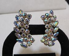 Stunning Vtg JAY FLEX STERLING Aurora Borealis Rhinestone Crawler Clip Earrings