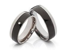 2 Diamant Anello In Titanio Anelli Di Fidanzamento Fedi Nuziali & Incisione