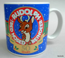 Coffee Mug Christmas 1989 Rudolph Red Nosed Reindeer 50 Year Anniversry Applause
