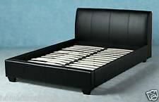 4ft 6 Black Faux Leather Double Bed & Ortho Mattres