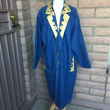 Sunbelt Long Blue Jean Denim Coat Duster Gold Paint Embellishment One Size Women