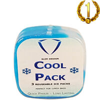 Ice Bricks For Lunch Bags Ice Packs Ice Freezer Block Cold Pack -3 Pack Slim