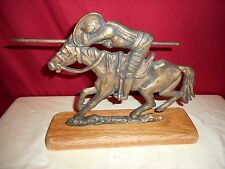 VINTAGE BRONZE FIGHTING KNIGHT SCULPTURE ON WOOD BASE - RARE FIND!