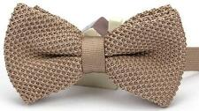 MEN'S BROWN KNIT KNITTED BOW TIE PRETIED ADJUSTABLE NEW