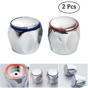 REPLACEMENT HOT & COLD TAP TOP HEAD COVERS CHROME PLATED 2PCS/set  UK