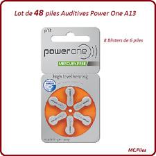 Lot de 48 piles boutons auditives A13 Power One, livraison rapide et gratuite
