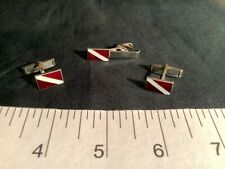 Vintage 1960's Scuba Dive Flag cuff links and tie clip set. Great condition.