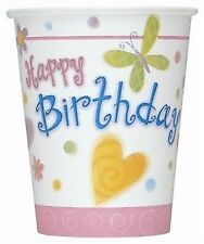 """Girl Birthday Party Supplies """"Cute Birthday"""" Butterfly Flowers Paper Cups 8 Pk"""