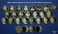 "2000- 2020 S + W Proof & Special Release Jefferson 27 Nickel Set w""W"" Reverse Pr"