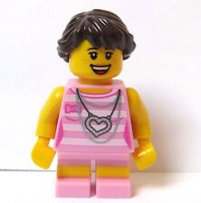 Lego  Female Girl Minifigure Figure  Pink Outfit Reversible Head Braided Hair