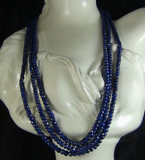 NATURAL SAPPHIRE CEYLON BRILLIANT FACETED 3 STRAND BEADS NECKLACE SAPHIR