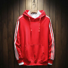 Plus Size Loose Striped Casual Hoodies - Red