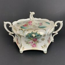 Antique  RS Prussia   Biscuit Jar  Jeweled Roses