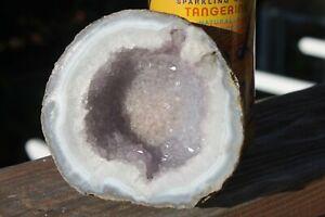 Natural   1.8 lb    Round Sliced  Purple   Geode    Crystal