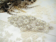 Ivory Pearl Crystal Bridal Dress Belt Sash Wedding Accessories Any Colour Ribbon