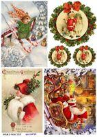 Rice paper decoupage arm100022 napkin vintage Santa supplies craft scrapbooking