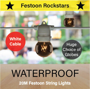 20m White Festoon String Lighting | Huge Selection of Globe, Outdoor Party Patio