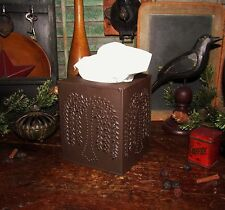 New BLACK WILLOW TISSUE BOX COVER Metal Holder Kleenex Primitive Country Barn