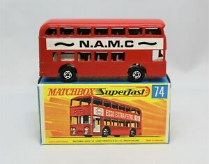 "Matchbox Superfast No74 DAIMLER BUS with VERY RARE "" N.A.M.C "" livery MINT inBOX"