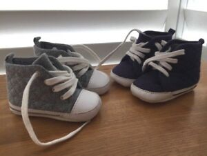 BABY BOYS 2x F&F Navy Blue and Grey Soft HI-TOP Trainers - Up to 3 months
