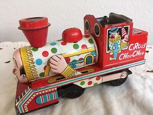 Vintage Tin Circus Choo Choo Clown Face Friction Train-Made in Japan DAIYA 753