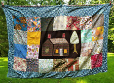 Charming Vintage 1975 Colorful Patchwork Cabin and Tree Hand Sewn Graphic Quilt