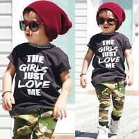 2PC Baby Boys Clothes Outfit Child Kids Shirt Tops+Pants Clothing Autumn/Summer