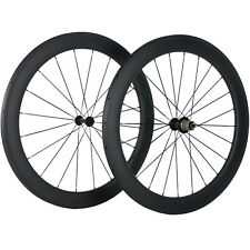 700C Carbon Fiber Bicycle Wheels 25mm Width 60mm Tubular Racing Wheelset