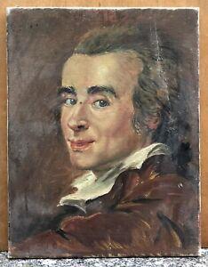 Tableau Ancien Huile Portrait Homme Chemise Cheveux Longs Noués