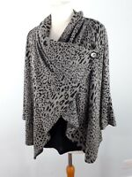 M&S Collection Sze 16 Grey Black Leopard Print 3/4 Sleeve Top Cardigan Lagenlook