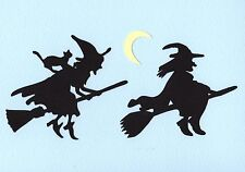 4 Witch on Brooms Die Cuts - Halloween Die Cuts - Witch on Broom w/cat die cuts