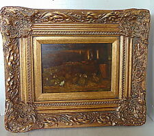 Sheep in the Shed by M. Paulus - Antique OIlPainting on Panel 1st half 20th cent
