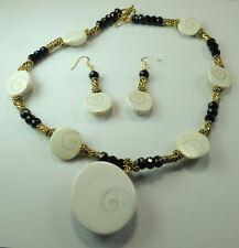 Statement Shiva Shell & Black Crystal Necklace & Earring Set Beach Wedding