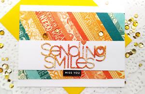 Handmade Greeting Card Sending Smiles Miss U Vintage Style Friendship A2 Size