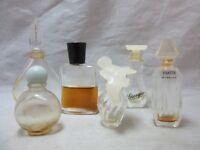 Lot of 6 vintage Empty mini perfume bottles. Chamade, Giorgio, Ysatis, etc..