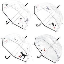 DUA Ladies Transparent Dome with Multi Cat Print Walking Length Umbrella