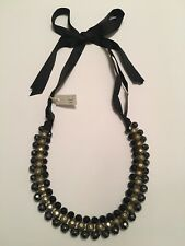 PEWTER GOLD BLACK BEADED NECKLACE WITH WIDE RIBBON BNWT