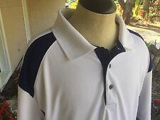 Golf America Mens White w/ Navy Polyester Short Sleeve Athletic Polo Sz XL - EUC